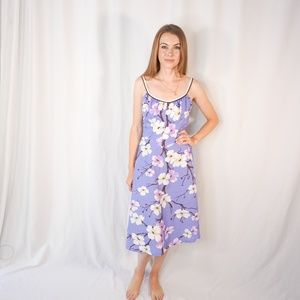 VINTAGE De Weese Purple Design Blossom Mini Dress